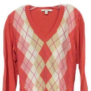 Liz Claiborne Argyle V Neck Sweater Size Large